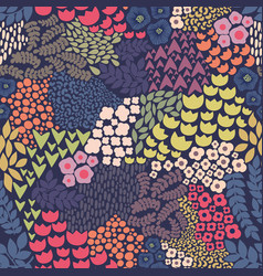 seamless pattern with flowers on a blue background vector image vector image