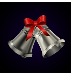 Silver bells with red bow vector image vector image
