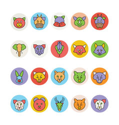 Animals face avatar icons 3 vector