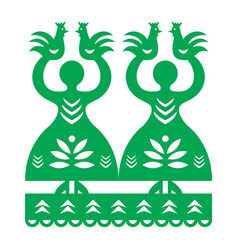Polish folk art pattern wycinanki kurpiowskie vector