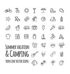 summer vacation and camping icons set vector image