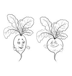 Character radish outline vector image