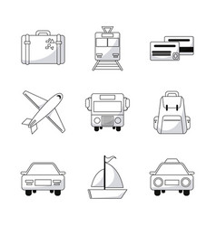 Collection travel world transport equipment vector
