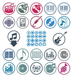 Music icons set simple single color icons set for vector image
