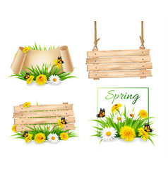 Set of spring nature banners with flowers and a vector