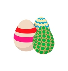 Three colorful easter eggs cartoon icon vector image
