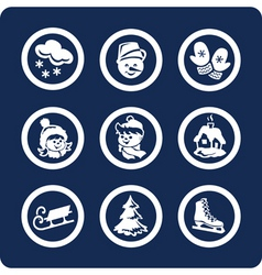 winter icons vector image
