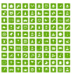 100 child center icons set grunge green vector image