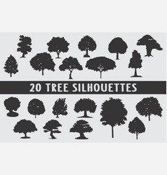 20 trees silhouettes various design set vector