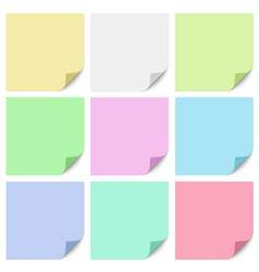 a set different color square sticky notes vector image