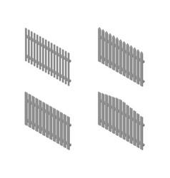 A set of isometric spans wooden fences vector