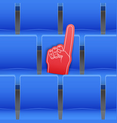 background of stadium seats and fan foam finger vector image