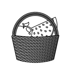 basket with fresh fruits icon vector image