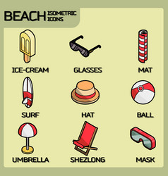 Beach color outline isometric icons vector