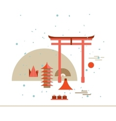 Beautiful Japan Travel Landmarks poster with Torii vector