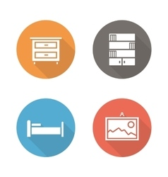 Bedroom flat design icons set vector image