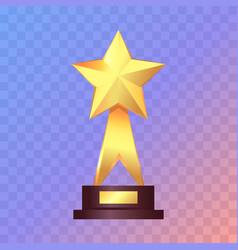 best gold star trophy standing on white shelf vector image