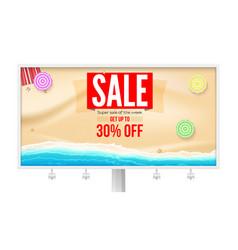 Billboard with super sale proposal sale get up vector