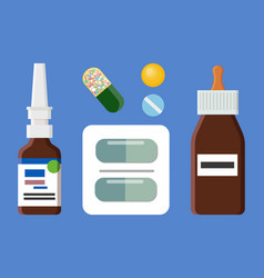 blister of pills bottles set vector image