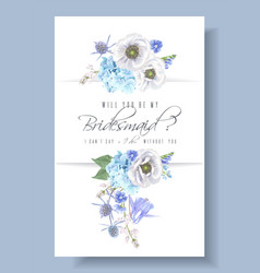Blue bridesmaid card vector