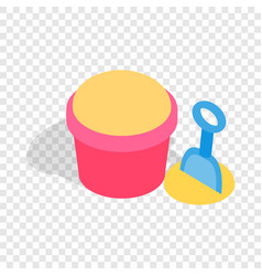 Bucket and shovel for childrens sandbox isometric vector