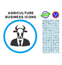 Bull boss rounded icon with set vector