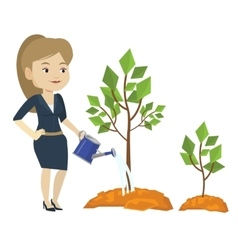 Business woman watering trees vector
