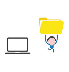 businessman character running from laptop vector image