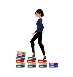 Businesswoman climbing up career ladder shown as vector