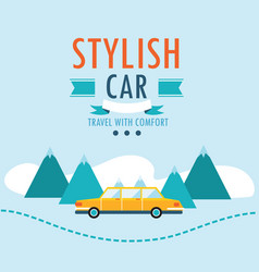 car on the road stylish car travel with comfort vector image