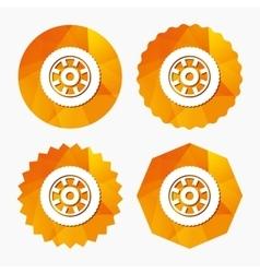 Car wheel sign icon Circular transport component vector image