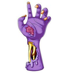 Cartoon a purple zombie hand vector