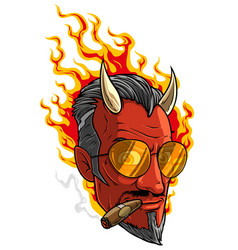 cartoon burning devil man with horns and cigar vector image