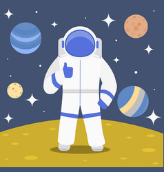 cartoon character cosmonaut on planet surface vector image