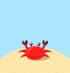 Cartoon cheerful crab at the beach natural vector image