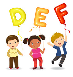 Cartoon kids holding letter def shaped balloons vector