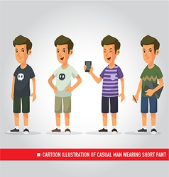cartoon of casual man wearing short pant vector image