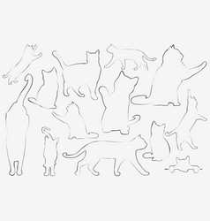 Cats collection - outline set vector