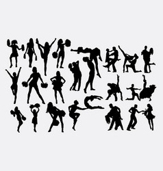 cheerleader and couple dance silhouette vector image
