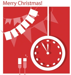 Christmas clock and flags vector