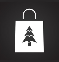 Christmas gift icon on black background for vector
