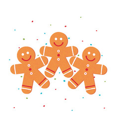 christmas gingerbread man in flat style vector image
