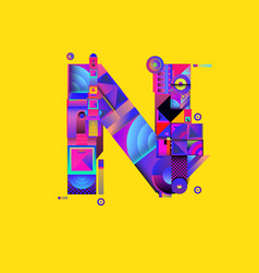 Colorful alphabet font letter n for logo vector
