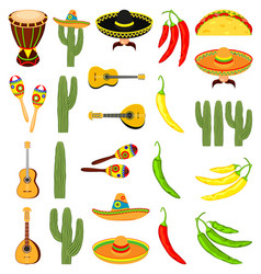 colorful cartoon 23 mexican elements vector image