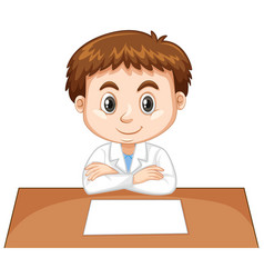 cute boy sitting with paper on table vector image