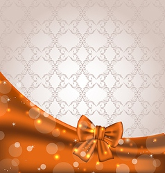 Cute brown backdrop with ribbon bow vector image
