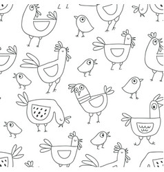 Cute cartoon rooster seamless pattern doodle style vector