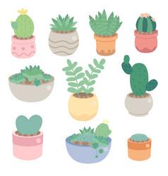 Cute minimal cactus and succulent in pot vector