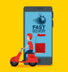 Delivery service with smartphone vector