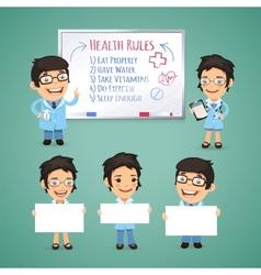 Doctors Presenting Empty Banners vector image